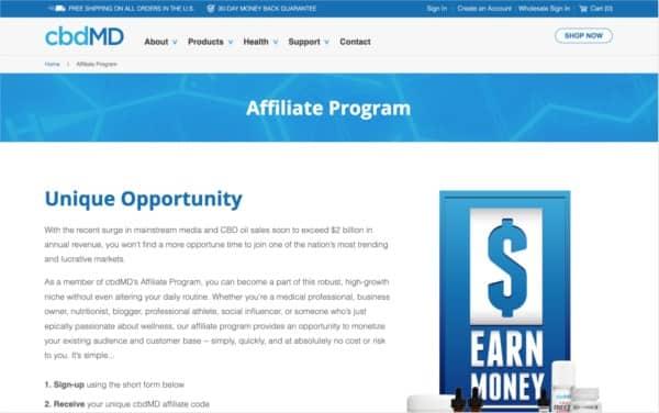 Cbdmd affiliate program